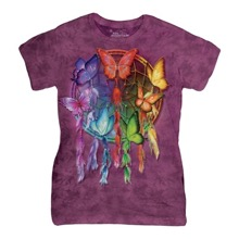 Rainbow Butterfly Dream Ladies T-Shirt