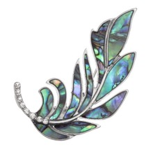 Floating Feather Paua Shell Brooch