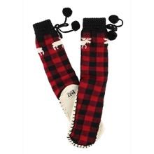 Women Moose Plaid Mukluk Slippers