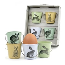 Set of Four Country Hares Eggcups