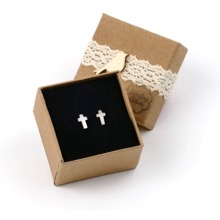 Silver Cross Studs for Pieced Ears