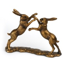 Boxing Hares Bronzed Figurines