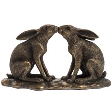 Bronzed Kissing Hares Figurine
