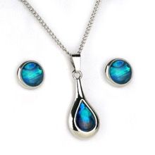 Paua Shell Dewdrop Pendant and Earrings Set