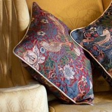 William Morris Strawberry Thief Cushion  Red