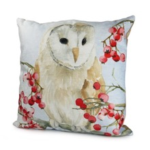 Barn Owl With Berries Cushion