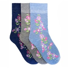Pack of 3 Ladies Flower Socks
