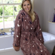 Festive Pines Printed Bath Robe Mink