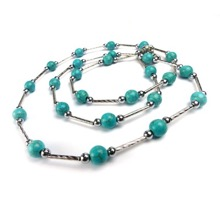 Turquoise and Silver Plated Hematite Bead Necklace