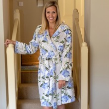 Plush Floral Bath Robe Blue 12-14