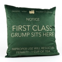 First Class Grump Green Cushion