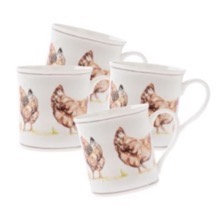 Country Chickens Set of Four Mugs
