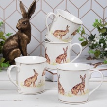 Country Hares Set of Four Mugs
