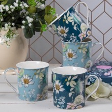 Set of Four Daisy Meadow Mugs