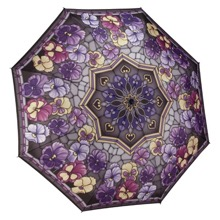 Stained Glass Pansies Telescopic Umbrella