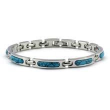 Magnetic Alloy Links Blue Stone Bracelet