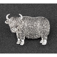 Highland Cow Silver Plated Brooch