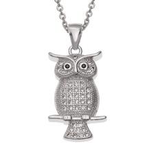 Silver Crystal Owl Pendant