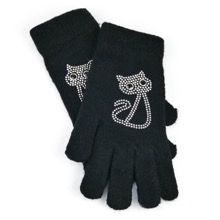 Diamante Cat Gloves Black